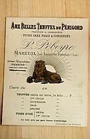 Europe/France/Midi-Pyrénées/46/Lot/Vallée du Lot/Cahors: Vieille étiquette d'un marchand de truffes - Collection Pebeyre
