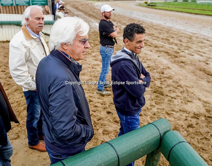 April 29, 2021: Trainer Bob Baffert and jockey John Velazquez watch the track as horses prepare for the Kentucky Derby and Kentucky Oaks at Churchill Downs. Scott Serio/Eclipse Sportswire/CSM