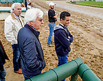 April 29, 2021: Trainer Bob Baffert and jockey John Velazquez watch the track as horses prepare for the Kentucky Derby and Kentucky Oaks at Churchill Downs. Scott Serio/Eclipse Sportswire/CSM