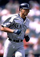 Alex Rodriguez of the Seattle Mariners during a 2000 season MLB game at Angel Stadium in Anaheim, California. (Larry Goren/Four Seam Images)