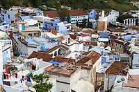 Chefchaouen, Morocco.  Rooftops in the Medina, Showing Many Satellite Dishes.