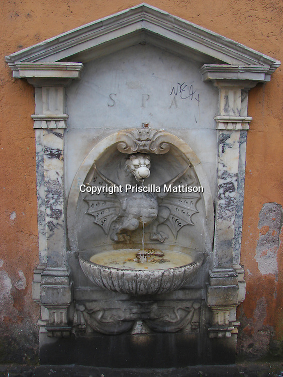 Rome, Italy - January 26, 2007: Water falls from a wall fountain.
