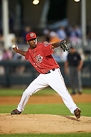 Harrisburg Senators pitcher Wander Suero (17) delivers a pitch during a game against the New Hampshire Fisher Cats on July 21, 2015 at Metro Bank Park in Harrisburg, Pennsylvania.  New Hampshire defeated Harrisburg 7-1.  (Mike Janes/Four Seam Images)