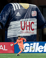 FOXBOROUGH, MA - NOVEMBER 20: Matt Turner #30 of New England Revolution takes a goal kick during the Audi 2020 MLS Cup Playoffs, Eastern Conference Play-In Round game between Montreal Impact and New England Revolution at Gillette Stadium on November 20, 2020 in Foxborough, Massachusetts.