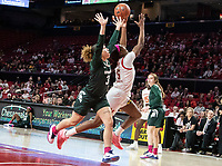 COLLEGE PARK, MD - FEBRUARY 03: Ashley Owusu #15 of Maryland nd Alyza Winston #3 of Michigan State reach up for the ball during a game between Michigan State and Maryland at Xfinity Center on February 03, 2020 in College Park, Maryland.