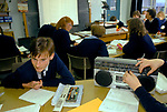 1990s Schools UK. GCSE pupils boys girls learning French with tape recorder. Greenford High School, Middlesex  London 1990 UK 1990