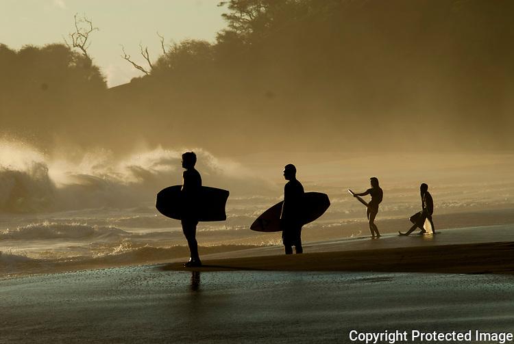 A few young kids enjoying a swell on the island of maui.