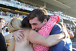 June 7, 2014: Tonalist, trained by Christophe Clement and ridden by Joel Rosario wins the 146th running of the Grade I Belmont Stakes at Belmont Park , Elmont, NY. Connections of the winning horse embrace in the winner's circle.  ©Joan Fairman Kanes/ESW/CSM