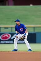 AZL Cubs second baseman Fidel Mejia (76) on defense against the AZL Diamondbacks on August 11, 2017 at Sloan Park in Mesa, Arizona. AZL Cubs defeated the AZL Diamondbacks 7-3. (Zachary Lucy/Four Seam Images)