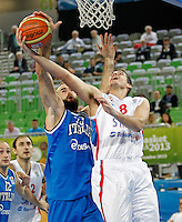 "Luigi Datome of Italy (L) and Nemanja Bjelica of Serbia (R) in action during European basketball championship ""Eurobasket 2013""  basketball game for 7th place between Serbia and Italy in Stozice Arena in Ljubljana, Slovenia, on September 21. 2013. (credit: Pedja Milosavljevic  / thepedja@gmail.com / +381641260959)"