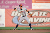 Connecticut Tigers second baseman Cameron Warner (31) throws to first base during a game against the Auburn Doubledays on August 10, 2017 at Falcon Park in Auburn, New York.  Connecticut defeated Auburn 4-1.  (Mike Janes/Four Seam Images)