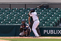 Detroit Tigers Daz Cameron (41), while on a rehab assignment with the Lakeland Flying Tigers, bats during a game against the Tampa Tarpons on May 16, 2021 at Joker Marchant Stadium in Lakeland, Florida.  Catching for the Tarpons is Carlos Narvaez.  (Mike Janes/Four Seam Images)