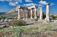 The Temple of Apollo (6th c. B.C.) in Ancient Corinth, Greece