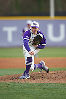 High Point Panthers starting pitcher Andrew Gottfried (21) follows through on his delivery against the Campbell Camels at Williard Stadium on March 16, 2019 in  Winston-Salem, North Carolina. The Camels defeated the Panthers 13-8. (Brian Westerholt/Four Seam Images)