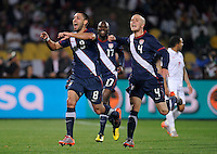 Clint Dempsey of USA celebrates his goal with team-mates. USA tied England 1-1 in the 2010 FIFA World Cup at Royal Bafokeng Stadium in Rustenburg, South Africa on June 12, 2010.