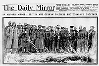 BNPS.co.uk (01202 558833)<br /> Pic: Pen&Sword/BNPS<br /> <br /> Pictured: The Daily Mirror of 8 January 1915.<br /> <br /> Previously unseen accounts of the First World War Christmas Day truce from the German side have come to light over 100 years on.<br /> <br /> British historian Anthony Richards has pored over hundreds of German diaries to shed new light on the temporary ceasefire in 1914.<br /> <br /> The fascinating accounts include one by a soldier who described the truce as a 'miracle' and called enemy troops his 'brothers'.