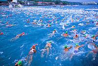 Swimmers at the Ironman triatholon race, Kona, Big island of Hawaii
