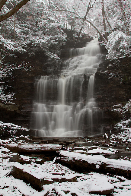 Nearly 90 feet in height, Ganoga is the largest falls in Ricketts Glen park in Pennsylvania, shown here after the first snow fall of winter