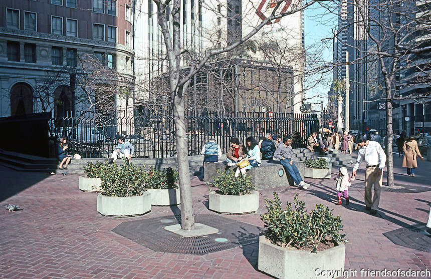 San Francisco:  Bart Station Plaza, Post St. at Market, street sculpture, etc.  Photo '83.