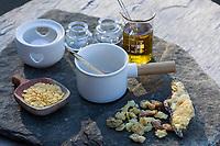 Harzsalbe selbermachen, Harz-Salbe selbermachen, selber machen, selber rühren: Zutaten: Fichtenharz, Olivenöl, Bienenwachs. Balsam, Harzsalbe, Harzcreme, Harzbalsam, Pechsalbe, Fichtenharz wird zusammen mit Olivenöl und Bienenwachs zu einer Heilsalbe, Heilcreme, Creme, Salbe verarbeitet. Fichten-Harz, Baumharz, Harz, liquid pitch, tree gum, galipot, gallipot. Gewöhnliche Fichte, Fichte, Rot-Fichte, Rotfichte, Picea abies, Spruce, Common Spruce, Norway spruce, L'Épicéa, Épicéa commun
