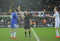 SWANSEA, WALES - JANUARY 17:   of  during the Barclays Premier League match between Swansea City and Chelsea at Liberty Stadium on January 17, 2015 in Swansea, Wales.<br /> Football skills being show off at half time