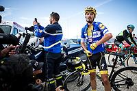 Yellow Jersey Julian Alaphilippe (FRA/Deceuninck Quick Step) post race recovering  atop La Planche des Belles Filles. <br /> <br /> Stage 6: Mulhouse to La Planche des Belles Filles (157km)<br /> 106th Tour de France 2019 (2.UWT)<br /> <br /> ©kramon