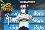 World Champion Julian Alaphilippe (FRA) Deceuninck-Quick Step wins Stage 2 of Tirreno-Adriatico Eolo 2021, running 202km from Camaiore to Chiusdino, Italy. 11th March 2021. <br /> Photo: LaPresse/Gian Mattia D'Alberto  | Cyclefile<br /> <br /> All photos usage must carry mandatory copyright credit (© Cyclefile | LaPresse/Gian Mattia D'Alberto)