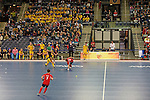 Leipzig, Germany, February 08: during the placement match (5th / 6th) between Sweden (yellow) and Russia (red) on February 8, 2015 at the FIH Indoor Hockey World Cup at Arena Leipzig in Leipzig, Germany. Final score 1-3 (1-0). (Photo by Dirk Markgraf / www.265-images.com) *** Local caption ***