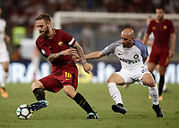 Calcio, Serie A: Roma, stadio Olimpico, 26 agosto, 2017.<br /> AS Roma's captain Daniele De Rossi (l) in action with Inter's Borja Valero (r) during the Italian Serie A football match between Roma and Inter at Rome's Olympic stadium, AUGUST 26, 2017.<br /> UPDATE IMAGES PRESS/Isabella Bonotto