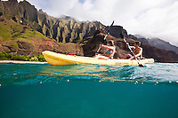 Kayaking Kauai's northern Na Pali coastline wilderness area