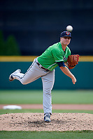 Gwinnett Stripers relief pitcher Jason Hursh (49) delivers a pitch during a game against the Columbus Clippers on May 17, 2018 at Huntington Park in Columbus, Ohio.  Gwinnett defeated Columbus 6-0.  (Mike Janes/Four Seam Images)