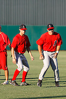 Mike Trout ---  AZL Angels - 2009 Arizona League.Photo by:  Bill Mitchell/Four Seam Images.Anaheim Angels 1st round pick Mike Trout made his professional debut in an Arizona League game against the Rangers at Tempe Diablo Stadium on Sunday, July 5, 2009. Trout hit a triple in his first at bat and finished the game 2 for 2 with 4 walks. The Angels defeated the Rangers, 18-3. In this photo, Trout (right) warms up in the outfield with fellow 1st round choice Randal Grichuk.