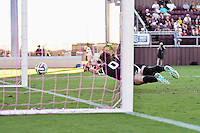 Texas A&M goalkeeper Jordan Day (0) fails make a safe in 89th minute resulting in South Carolina tying the game during NCAA soccer game, Sunday, October 26, 2014 in College Station, Tex. South Carolina draw 2-2 against Texas A&M in double overtime. (Mo Khursheed/TFV Media via AP Images)