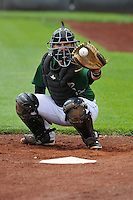 Clinton LumberKings catcher James Alfonso (12) warms up the pitcher in the bullpen prior to the game against the Beloit Snappers at Ashford University Field on June 12, 2016 in Clinton, Iowa.  The LumberKings won 1-0.  (Dennis Hubbard/Four Seam Images)