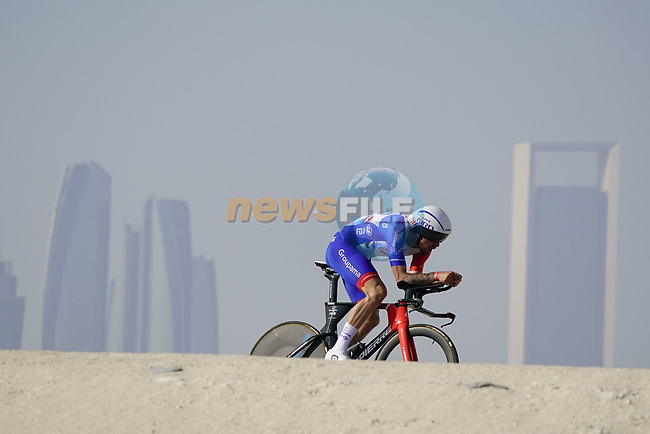 Alexys Brunel (FRA) Groupama-FDJ during Stage 2 of the 2021 UAE Tour an individual time trial running 13km around  Al Hudayriyat Island, Abu Dhabi, UAE. 22nd February 2021.  <br /> Picture: Eoin Clarke | Cyclefile<br /> <br /> All photos usage must carry mandatory copyright credit (© Cyclefile | Eoin Clarke)