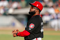 Chattanooga Lookouts assistant coach Lenny Harris handles third-base coaching duties against the Tennessee Smokies at Smokies Stadium on June 18, 2021, in Kodak, Tennessee. (Danny Parker/Four Seam Images)