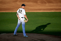 Kane County Cougars starting pitcher Mack Lemieux (22) looks in for the sign during a game against the West Michigan Whitecaps on July 19, 2018 at Northwestern Medicine Field in Geneva, Illinois.  Kane County defeated West Michigan 8-5.  (Mike Janes/Four Seam Images)