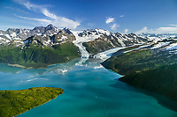 Aerial of the Chugach mountains and Barry, Coxe and Cascade glaciers which meet in Barry Arm, Prince William Sound, Alaska
