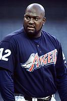 Mo Vaughn of the Anaheim Angels during a 2000 season MLB game at Angel Stadium in Anaheim, California. (Larry Goren/Four Seam Images)