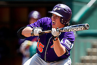 Jake Mahon (25) of the Evansville Purple Aces attempts to bunt during a game against the Missouri State Bears at Hammons Field on May 12, 2012 in Springfield, Missouri. (David Welker/Four Seam Images)