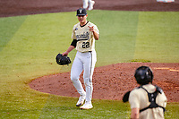 Vanderbilt Commodores starting pitcher Jack Leiter (22) walks off the field between innings against the Tennessee Volunteers on Robert M. Lindsay Field at Lindsey Nelson Stadium on April 17, 2021, in Knoxville, Tennessee. (Danny Parker/Four Seam Images)