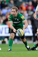 Tomas O'Leary of London Irish in action during the Premiership Rugby match between London Irish and Northampton Saints at the Madejski Stadium on Saturday 4th October 2014 (Photo by Rob Munro)