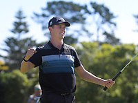 Daniel Hillier celebrates winning the final against Jang Hyun Lee. Final day of the Jennian Homes Charles Tour / Brian Green Property Group New Zealand Super 6s at Manawatu Golf Club in Palmerston North, New Zealand on Sunday, 8 March 2020. Photo: Dave Lintott / lintottphoto.co.nz