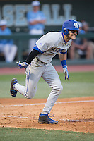 Riley Mahan (2) of the Kentucky Wildcats hustles down the first base line against the North Carolina Tar Heels at Boshmer Stadium on February 17, 2017 in Chapel Hill, North Carolina.  The Tar Heels defeated the Wildcats 3-1.  (Brian Westerholt/Four Seam Images)