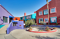 Colorful buildings with mirror windows in La Placita Village. Tucson. Arizona