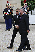 French President Emmanuel Macron greets President of Tajikistan Emomali Rahmon at The Elysee Presidential Palace in Paris. 13.10.2021 . Credit: Action Press/MediaPunch **FOR USA ONLY**