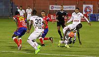 PASTO - COLOMBIA -21-02-2017: Wilberto Cosme (Izq.) jugador de Deportivo Pasto disputa el balón con Cesar Mena (Der.) jugador de Patriotas F. C., durante partido Deportivo Pasto y Patriotas F. C., por la fecha 5 de la Liga Aguila I 2017, jugado en el estadio Departamental Libertad de la ciudad de Pasto.  / Wilberto Cosme (L) player of Deportivo Pasto fights for the ball with Cesar Mena (R) player of Patriotas F. C., during a match Deportivo Pasto and Patriotas F. C., for the date 5 of the Liga Aguila I 2017 at the Departamental Libertad stadium in Pasto city. Photo: VizzorImage. / Leonardo Castro / Cont.