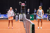 Den Bosch, The Netherlands, April 16, 2021,    Maaspoort, Billy Jean King Cup  Netherlands -  China , seccond day first match: Start of the match between Lesley Pattinama-Kerkhove (NED) and  Xiyu Wang (CHN) (R)<br /> Photo: Tennisimages/Henk Koster
