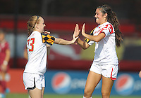 COLLEGE PARK, MD - OCTOBER 21, 2012:  Alexis Prior-Brown (23) and Erika Nelson (15) of the University of Maryland playing against Florida State during an ACC women's match at Ludwig Field in College Park, MD. on October 21. Florida won 1-0.