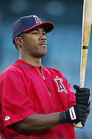 Garret Anderson of the Los Angeles Angels before a 2002 MLB season game at Angel Stadium, in Anaheim, California. (Larry Goren/Four Seam Images)